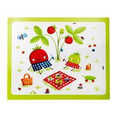 TORVA Tischset IKEA Die fröhlichen Obstfiguren ziehen den Blick der Kinder beim Essen an; sie wecken Interesse an der Natur und dem Pflanzenwachstum.