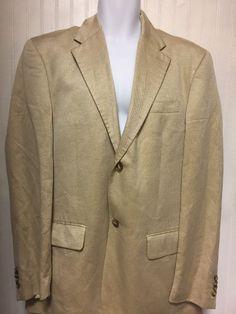 40R Perry Ellis Mens Tan Two Button Sports Coat Blazer Jacket Lined | eBay