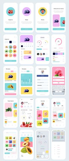 Nutro Super clean and minimalistic iOS UI Kit - UI Templates - Ios App Design, Mobile Ui Design, Design Android, Iphone App Design, Design Web, Chart Design, Desing App, Flow Design, Design Layouts