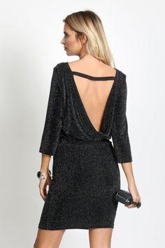 d7b900139e Czarna sukienka wieczorowa ODSŁONIĘTE plecy B13 XL
