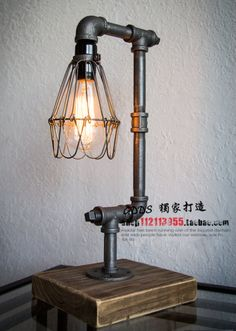 Nordic Loft Vintage Industrial Water Pipe Table Light Edison Desk Light Accent Wood Lamp Bar Coffee Shop Club Store Restaurant