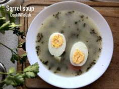Polish sorrel soup is one of my top 3 best soups from childhood:) Sour and sweet, made of sorrel collected last summer and preserve in the jar for Winter. Healthy Soup Recipes, My Recipes, Clear Vegetable Soup, Beet Borscht, Sorrel Soup, Polish Soup, Pickle Soup, Polish Chicken, Mushroom Barley Soup