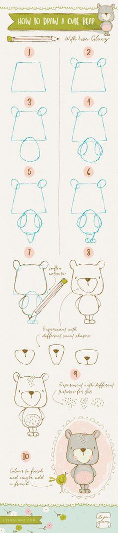 How to draw a cute bear! https://www.lisaglanz.com/blog/how-to-draw-cute-bear/ #whimsical #howto #draw