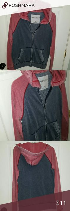 Aeropostale  Small Distressed blue and red zip up  is perfect for anyone ,,hooded with missing drawstring,   front pockets, fitted waist and sleeve, Aeropostale Shirts Sweatshirts & Hoodies
