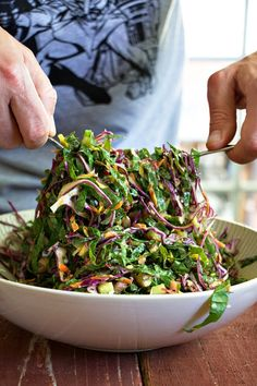 The Perfect Picnic Salad - Shredded Salad with Green Goddess Dressing