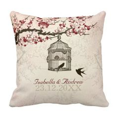 Shop Cherry Blossom and Love Birds Throw Pillow created by MoonCottageStudio. Custom Pillows, Decorative Pillows, Wedding Pillows, Colouring Pages, Love Birds, Pillow Design, Knitted Fabric, Cherry Blossom, Decorating Your Home