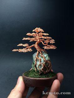 Large root-over-rock wire bonsai tree by Ken To by KenToArt.deviantart.com on @DeviantArt