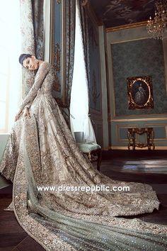 Formal Heavy Bridal Lehenga With Long Train and High-Low Hemline Asian Bridal Dresses, Asian Wedding Dress, Pakistani Wedding Outfits, Pakistani Bridal Dresses, Wedding Dresses 2018, Pakistani Wedding Dresses, Bridal Outfits, Bridal Lehenga, Lehenga Choli