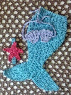 Crochet Baby Mermaid Tail Headband and Shells Set by JJBabyCrochet, $60.00