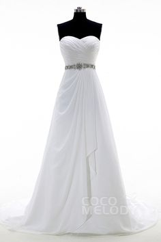 Hot Sale Sweetheart Train Chiffon Ivory Lace Up-Corset Wedding Dress with Beading and Pleating CWLT15008