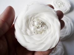 White Roses Handmade Appliques Embellishments5 by BizimSupplies, $12.50