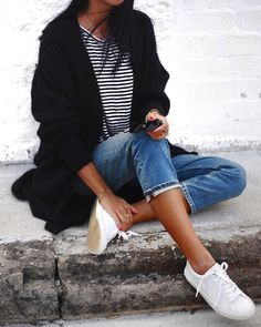 white sneakers, denim and stripes. casual but classic!