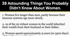 38 Astounding Things You Probably Didn't Know About Women.