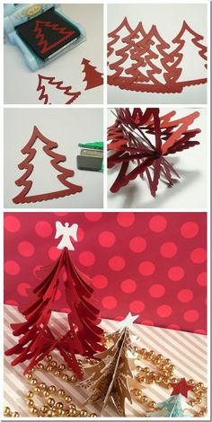 cafe creativo - sizzix big shot - christmas tree - holiday - Before After DIY Handmade Christmas, Christmas Crafts, Christmas Decorations, Christmas Ornaments, Little Christmas Trees, Xmas, Before And After Diy, Shots Ideas, Red Tree