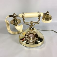 Hollywood Regency Phone Brass Plated and Cream Tone Rotary Working Tested 70s #Unbranded