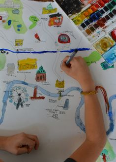 draw a map of your city customized for your life. watercolor details.