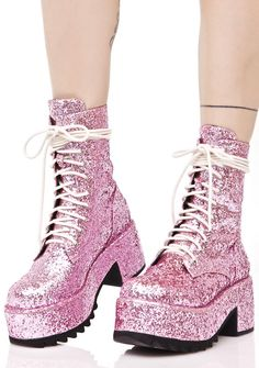 Current Mood Twinkle Glitter Boots our eyes…can't...stop...lookin' at ya, bb!!! Outshine the rest with these amazing boots, featurin' a vegan leather construction completely covered with gorgeous pink glitter, covered platform 'N block heel, contrasting black tread sole, and exXxtra long creamy lace-ups that ya can wrap around yer ankle for a sleek 'N sturdy fit.