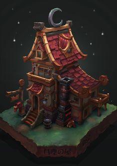 Moondust Cabin, Bangzheng Du on ArtStation at https://www.artstation.com/artwork/WlN33