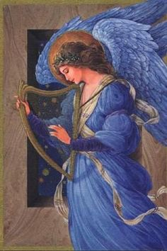 """Robert Haas - Blue angel playing the harp, date unknown, archival illustration"" Edward Burne Jones, I Believe In Angels, Angel Pictures, Angels Among Us, Angels In Heaven, Guardian Angels, Angel Art, Religious Art, Christmas Angels"