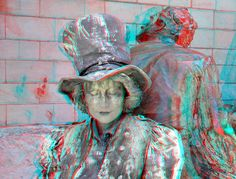 https://flic.kr/p/G7yCrm | Live Statue Antwerpen 3D | Kathedraal anaglyph stereo red/cyan