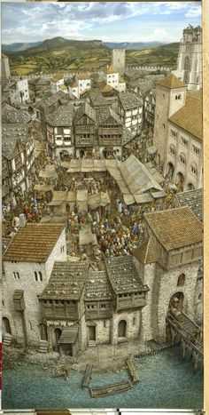 Medieval Houses, Medieval Life, Fantasy City, Fantasy Places, Historical Architecture, Ancient Architecture, Art And Illustration, Planer Layout, Environment Concept Art