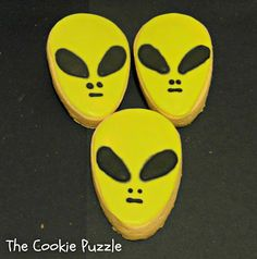"""The Cookie Puzzle: SciFi Cookies I made some iconic """"alien"""" cookies, using an Easter Egg cutter."""