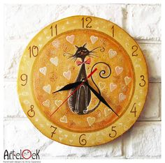 The Love Cat Wall Clock Home Decor for Children Baby by ArtClock
