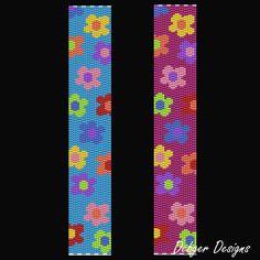 Bead Pattern PeyoteBracelet CuffFlower Power by FUNPATTERNDESIGNS