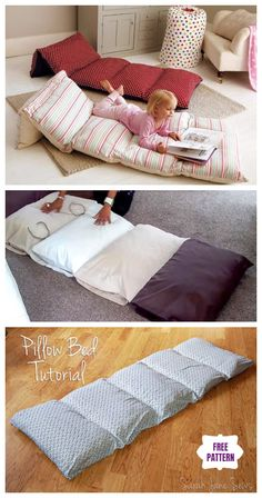 DIY Simple Roll Up Pillow Bed Floor Cushion DIY Simple Roll Up Pillow Bed Tutorial - Video<br> DIY Simple Roll Up Pillow Bed Floor Cushion: 3 different ways to sew a pillow bed cushion for kids and yourself to carry and rest on. Kids Floor Cushions, Bed Cushions, Baby Pillows, Kids Pillows, Giant Floor Pillows, Throw Pillows, Pillow Mattress, Pillow Beds, Diy Pillow Chair