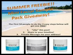 Summer FREEBIE Mini Facial pack give away!!!  Just follow the easy instructions for a free Mini Facial and an opportunity to try some of Rodan + Fields amazing skincare products!  https://kcandela.myrandf.com