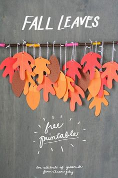 Leaves Free Printable Fall leaves: free printable from classic play for gratitude trees and fall hostess gifts.Fall leaves: free printable from classic play for gratitude trees and fall hostess gifts. Fall Halloween, Halloween Crafts, Holiday Crafts, Autumn Art, Autumn Theme, Autumn Activities, Craft Activities, Thanksgiving Crafts For Toddlers, Thanksgiving Tree