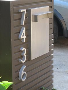 Creative House Number Ideas The Importance of House Numbers Creative House Number Ideas. House numbers are so important and yet they are completely overlooked. Contemporary Mailboxes, Residential Mailboxes, Modern Mailbox, Metal Mailbox, Casa Loft, House Numbers, House Front, Home Projects, New Homes