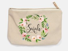 Bachellorette Makeup Bag, Personalized Name, Floral Wreath Monogram Cosmetic Bag, Name Pencil Case, Bridesmaid Gift, Makeup by BlueSparrowDesignsCo on Etsy