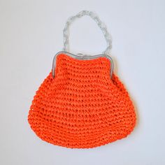 vintage 1960s bright orange woven raffia purse by RockAndRollVintage, $36.00