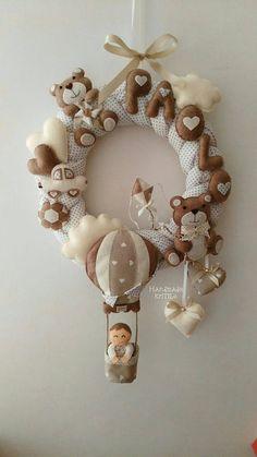 Ghirlanda fiocco nascita orsetti e mongolfiera Handmade KriTiLo