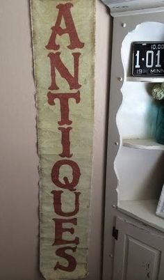Printed Distressed Canvas 'Antiques' Banner with Rivets
