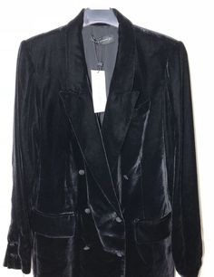NWT ZARA VELVET DOUBLE BREASTED Blazer Black Flowing Jacket Size L Ref.2731/277 #ZARA #Blazer #Casual