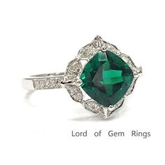 Cushion Treated Emerald Engagement Ring Pave Diamond Wedding 14K White Gold,8mm,Floral Unique - Lord of Gem Rings - 1
