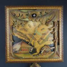 Vintage-Rare-Unique-German-KUNAR-Square-Cuckoo-Clock-w-Tags-Needs-Repair