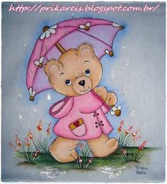 Bear in Pink Raincoat with Umbrella Art Drawings For Kids, Pencil Art Drawings, Bear Pictures, Cute Pictures, Painting Templates, Cute Animal Illustration, Pencil Design, Beautiful Sketches, Paint Cards