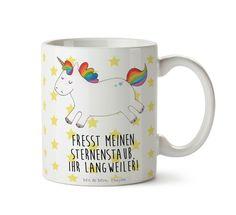 Tasse Einhorn Happy aus Keramik  Weiß - Das Original von Mr. & Mrs. Panda.  Eine wunderschöne Keramiktasse aus dem Hause Mr. & Mrs. Panda, liebevoll verziert mit handentworfenen Sprüchen, Motiven und Zeichnungen. Unsere Tassen sind immer ein besonders liebevolles und einzigartiges Geschenk. Jede Tasse wird von Mrs. Panda entworfen und in liebevoller Arbeit in unserer Manufaktur in Norddeutschland gefertigt.    Über unser Motiv Einhorn Happy  Ein wunderschönes Einhorn aus der Mr. & Mrs. Panda…