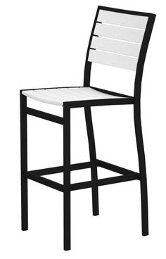 Polywood A102FABWH Euro Bar Side Chair in Textured Black Aluminum Frame / White