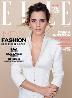 Emma Watson pose in simply chic looks on ELLE UK's March 2017 Magazine. Emma wears a fitted jacket and mussed hairstyle for cover shoot. Lucy Watson, Emma Watson Elle, Emma Watson Stil, Alex Watson, Hermione Granger, Enma Watson, Uk Magazines, Fashion Magazines, Magazine Cover Design