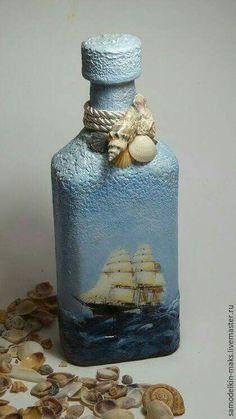 Discover thousands of images about How To Decoupage On Glass Bottle With Pizzi Goffre Technique. Same technique different bottle 2 Wine Bottle Art, Diy Bottle, Wine Bottle Crafts, Jar Crafts, Diy And Crafts, Bottles And Jars, Glass Bottles, Decoupage Glass, Altered Bottles