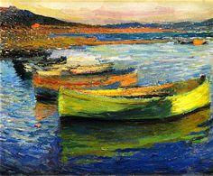 Boats near Collioure-Henri Martin - circa 1910 (by BoFransson)