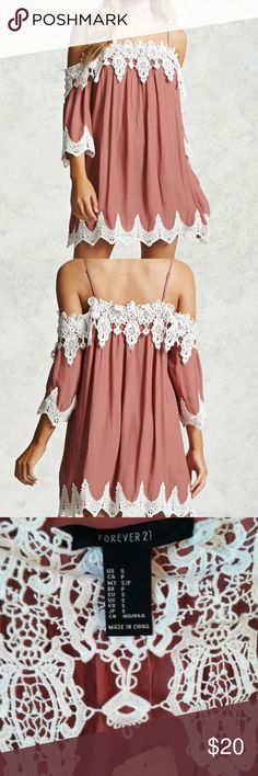 NWT Forever 21 lace dress Small •New with tag •Lace design at the edges •Adjustable straps •Cold shoulder design •Color: Mauve and white •Brand: Forever 21 •Size: Small •NO TRADES Forever 21 Dresses Mini