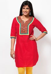 If you are yearning for that ethnic look with a casual touch, then get this red coloured kurta from Kurti's. The cotton fabric makes it comfortable, while the knee length makes it a manageable wear. Team with yellow churidar and traditional jewellery.