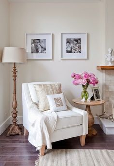 Clean and classic reading nook with accent chair.