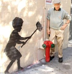 Saul Zabar helped protect Banksy's piece with a plexiglass on his family building on 79th street and Broadway October 2013