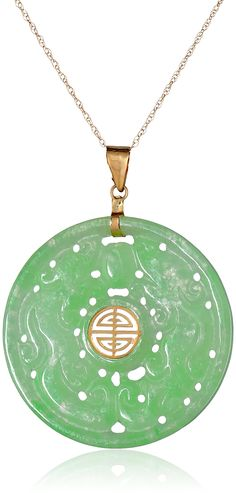"""14k oro amarillo tallado verde jade buen collar colgante de Fortune, 18 """""""